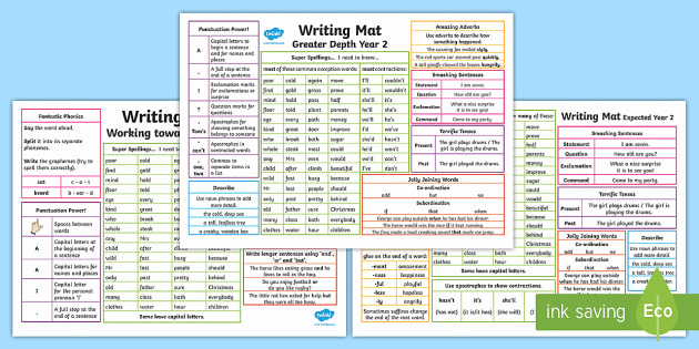 Year 2 Differentiated Writing Mats - KS1, year 2, writing, spelling, punctuation, grammar, support, display, table mat, writing mat, inde