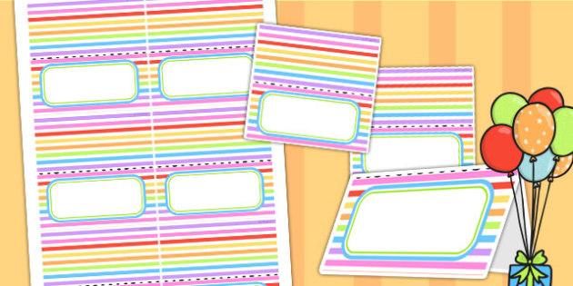 Rainbow Themed Birthday Party Place Names - parties, birthdays
