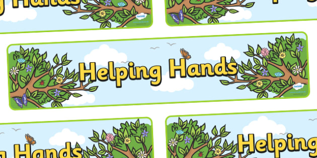 Helping Hands Tree Display Banner - helpful hands tree, helpful hands, helpful, hands, display, banner, sign, poster, smile, polite, helpful, gentle, kind, happy, being helpful, good behaviour, friendship, friends