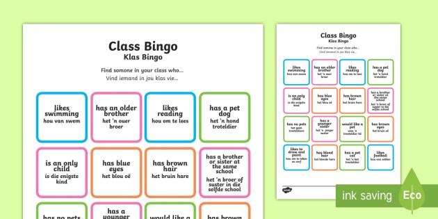 Class Welcome Transition Bingo Board English/Afrikaans - Class Welcome Transition Bingo Board - bingo, bingo board, class welcome, class welcome bingo board,