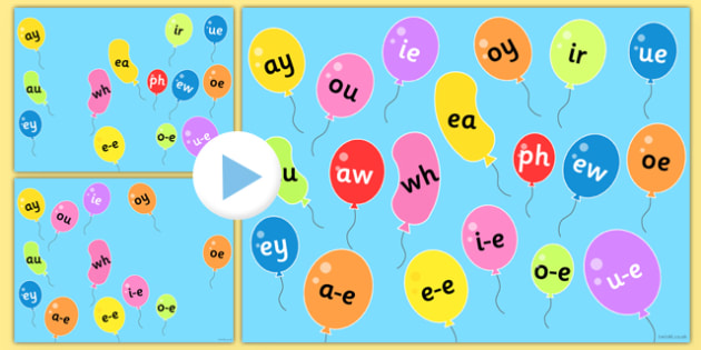 Phase 5 Phonemes on Popping Balloons PowerPoint - phase 5, phonemes, balloons