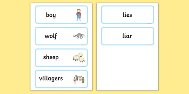 The Boy Who Cried Wolf Word Cards - visual aid, keywords, story
