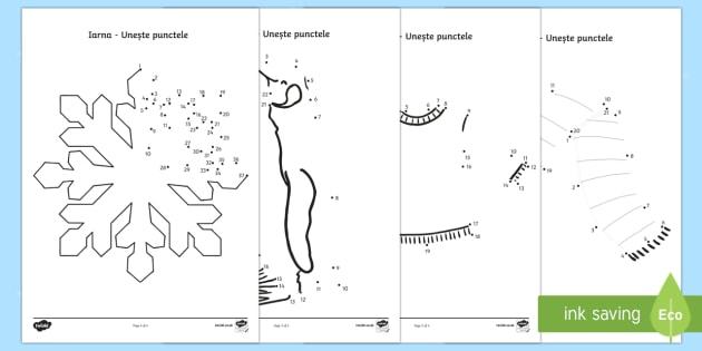 Desene de iarnă - Unește punctele - iarna, desene, unește punctele, uneste punctele, fise, fișe, română, romana, materiale, Romanian
