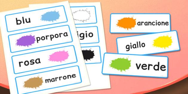 Colour Word Cards Italian - italian, colour, word, cards, colours