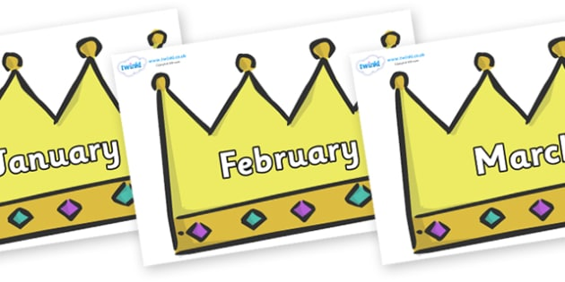 Months of the Year on Crowns (Plain) - Months of the Year, Months poster, Months display, display, poster, frieze, Months, month, January, February, March, April, May, June, July, August, September