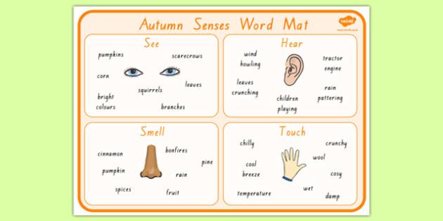 Autumn Senses Word Mat - nz, new zealand, seasons, weather, visual aid, keywords