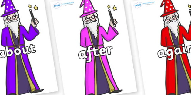 KS1 Keywords on Wizards - KS1, CLL, Communication language and literacy, Display, Key words, high frequency words, foundation stage literacy, DfES Letters and Sounds, Letters and Sounds, spelling