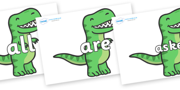 Tricky Words on T Rex Dinosaurs - Tricky words, DfES Letters and Sounds, Letters and sounds, display, words