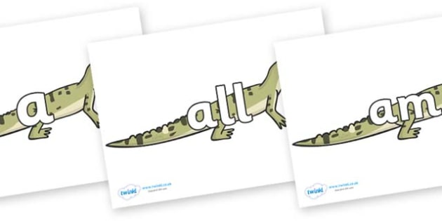 Foundation Stage 2 Keywords on Aligators - FS2, CLL, keywords, Communication language and literacy,  Display, Key words, high frequency words, foundation stage literacy, DfES Letters and Sounds, Letters and Sounds, spelling