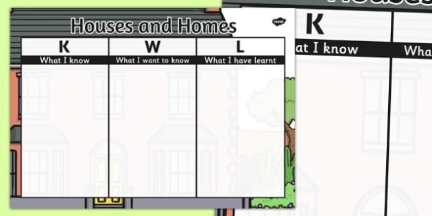 Houses and Homes Topic KWL Grid - houses, homes, kwl, grid, topic