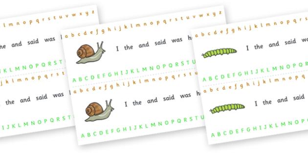 Alphabet Strips (Minibeasts) - education, home school, child development, kids, free