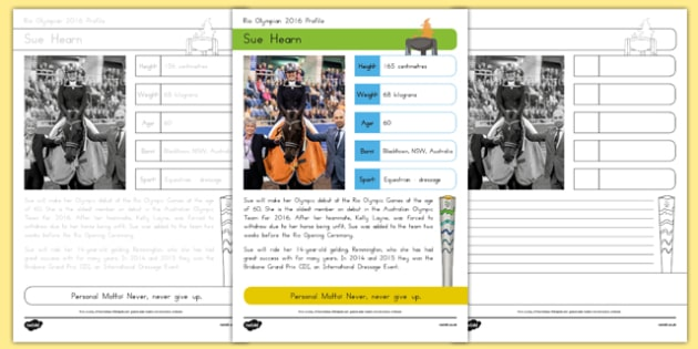Australian Rio Olympian Sue Hearn Handwriting Practice Activity Sheets-Australia, worksheet