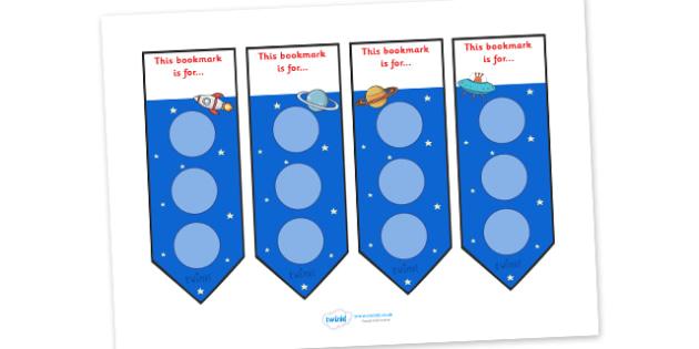Space Large Sticker Reward Bookmarks - Space Large Sticker Reward Bookmarks, sticker, stickers, bookmark, reward bookmarks, reward, award, space, pace themed, large, large stickers, rewards, Bookmark, bookmark template,  gift,  present, book, reward,