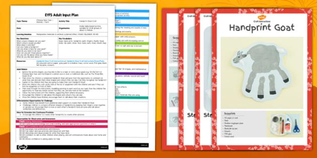 Handprint Goat Craft EYFS Adult Input Plan and Resource Pack - craft, handprint, goat, eyfs, pack