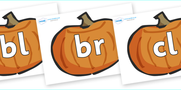 Initial Letter Blends on Pumpkins - Initial Letters, initial letter, letter blend, letter blends, consonant, consonants, digraph, trigraph, literacy, alphabet, letters, foundation stage literacy