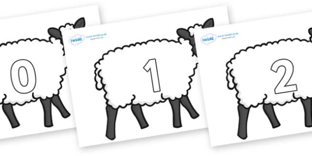 Numbers 0-100 on Sheep - 0-100, foundation stage numeracy, Number recognition, Number flashcards, counting, number frieze, Display numbers, number posters