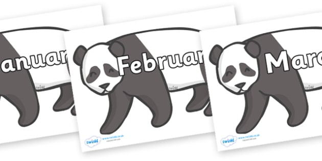 Months of the Year on Pandas - Months of the Year, Months poster, Months display, display, poster, frieze, Months, month, January, February, March, April, May, June, July, August, September