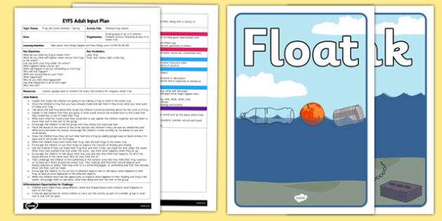 Floating Frog Leaves EYFS Adult Input Plan - EYFS planning, early years, frog life cycle, forest school, outdoor learning, utw