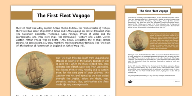 The First Fleet Voyage Information Sheet - australia, The First Fleet, voyage, ships, travelling, route, dates, timeline, history, information sheet, information