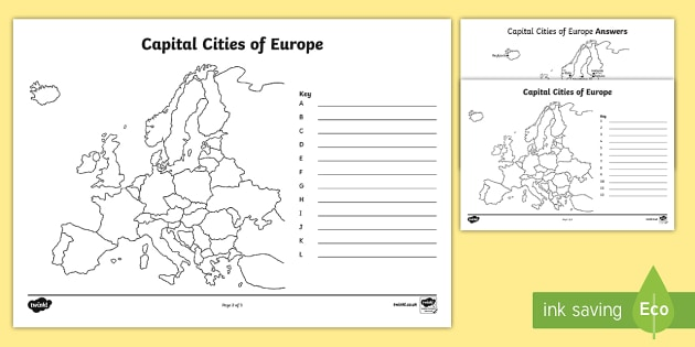 The Countries and Capital Cities of Europe Colour and Label Activity Sheet - europe, map of europe, europe labelling worksheets, capital cities worksheet, countries of europe, ks2 sheet