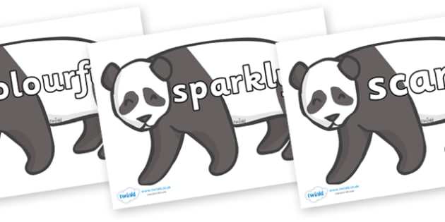 Wow Words on Pandas - Wow words, adjectives, VCOP, describing, Wow, display, poster, wow display, tasty, scary, ugly, beautiful, colourful sharp, bouncy