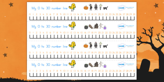 Halloween Number Line 0-30 - halloween, halloween numberline, halloween numeracy, autumn, halloween numbers, halloween counting, counting aid, 0-30