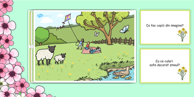 Primăvara în parc - Planșe cu întrebări - primăvara, decor, planșe, întrebări, răspunsuri, imagini, planșe, cuvinte, anotimpuri, anotimp, materiale didactice, română, romana, material, material