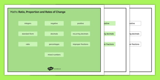 KS3 Maths Word Mat Ratio Proportion and Rates of Change - KS3, KS4, GCSE, Maths, keywords, vocabulary, revision, ratio, proportion, fractions, percentages