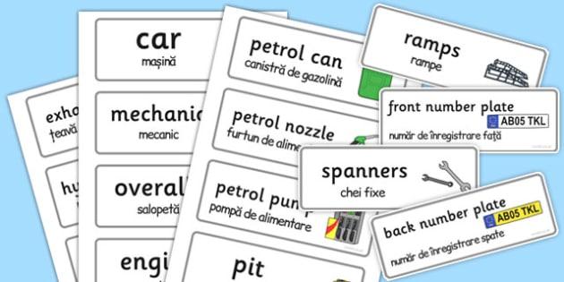 Mechanics Garage Word Romanian Translation - romanian, mechanics