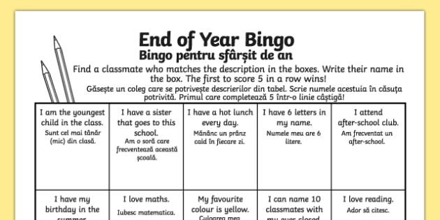 Last Day of School Bingo Activity Sheet Romanian Translation - romanian, last day of school, bingo, activity, worksheet