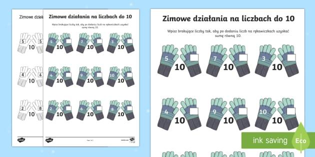 Karta Zimowe działania na liczbach do 10 - zima, zimowe, pory roku, śnieg, rękawiczki, szal, czapka, odzież, ubrania, liczenie, matematyka,