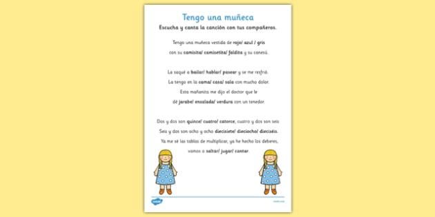 Presentación 'Rellena los huecos' de la canción Tengo una muñeca - tengo una muñeca, canción infantil