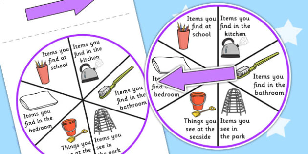 Places Category Spinner - games, SEN games, visual aid, place