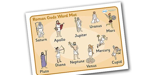 Roman Gods Word Mat - Romans, Rome, Roman Empire, colosseum, word mat, writing aid, mat, pantheon, Julius Caesar, emperor, gladiator, amphitheatre