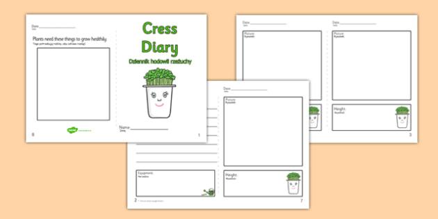 Growing Cress Diary Writing Frame Polish Translation - polish, growing cress, diary, writing