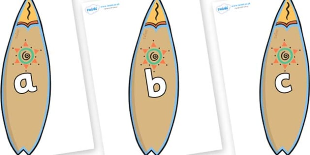 Phase 2 Phonemes on Surf Boards - Phonemes, phoneme, Phase 2, Phase two, Foundation, Literacy, Letters and Sounds, DfES, display