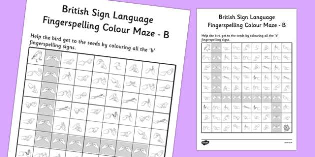 British Sign Language Fingerspelling Colour Maze B - colour, maze