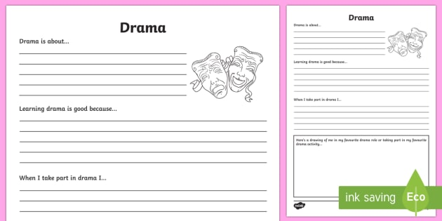 Drama Reflection Writing Template - writing template, subject, self assessment, feelings, drama, arts education