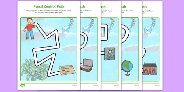 Flat Boy Pencil Control Path Worksheets - flat stanley, flat boy, jeff brown, pencil control path