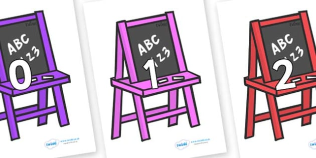 Numbers 0-31 on Chalk Boards - 0-31, foundation stage numeracy, Number recognition, Number flashcards, counting, number frieze, Display numbers, number posters