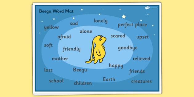 Word Mat to Support Teaching on Beegu - Beegu, Word mat, Beegu words, story book word mats, story book keywords, beegu story words, beegu words