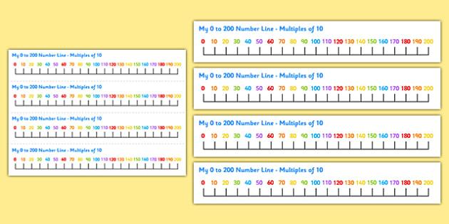 0-200 Number Line Multiples of 10 - 0-200, number line, multiples of 10, multiples, numberline