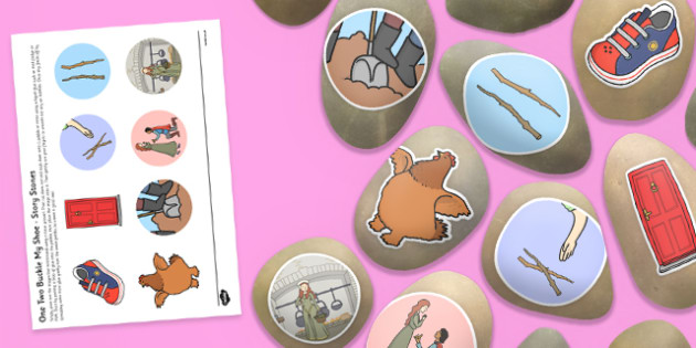 One Two Buckle My Shoe Story Stone Image Cut Outs - Story stones, stone art, painted rocks, Nursery Rhymes, song
