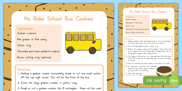 No Bake School Bus Cookie Recipe