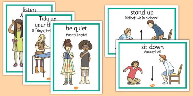 Classroom Instructions Display Posters Romanian Translation - romanian, classroom, instructions, display, posters