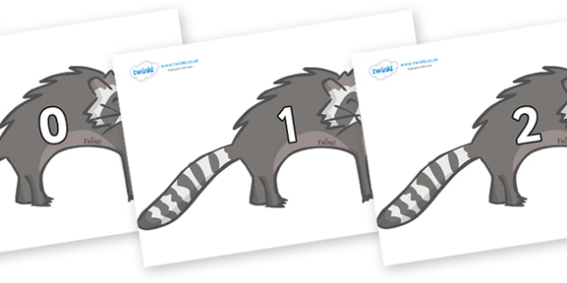 Numbers 0-50 on Raccoons - 0-50, foundation stage numeracy, Number recognition, Number flashcards, counting, number frieze, Display numbers, number posters