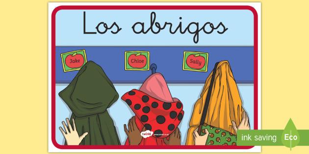 Cartel:  Los abrigos - cartel, pancarta, letrero, póster, abrigo,Spanish