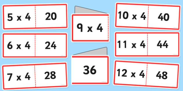 4 Times Tables Cards Romanian Translation - romanian, times table, cards, 4, fold, activity