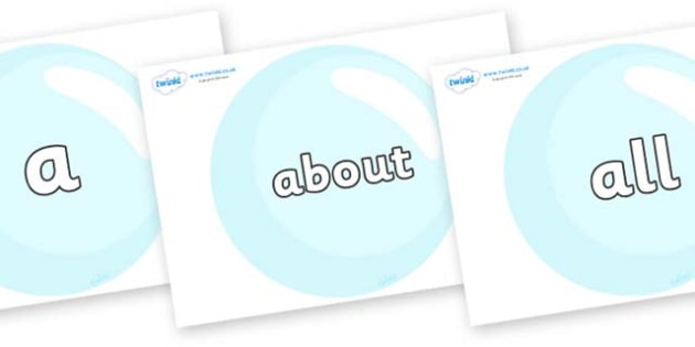 100 High Frequency Words on Bubbles - High frequency words, hfw, DfES Letters and Sounds, Letters and Sounds, display words