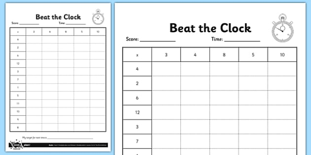 Year 3 Beat the Clock Editable Times Tables Grid - tables, multiplication grid, race against the clock, timed tables challenge, times table, times tables